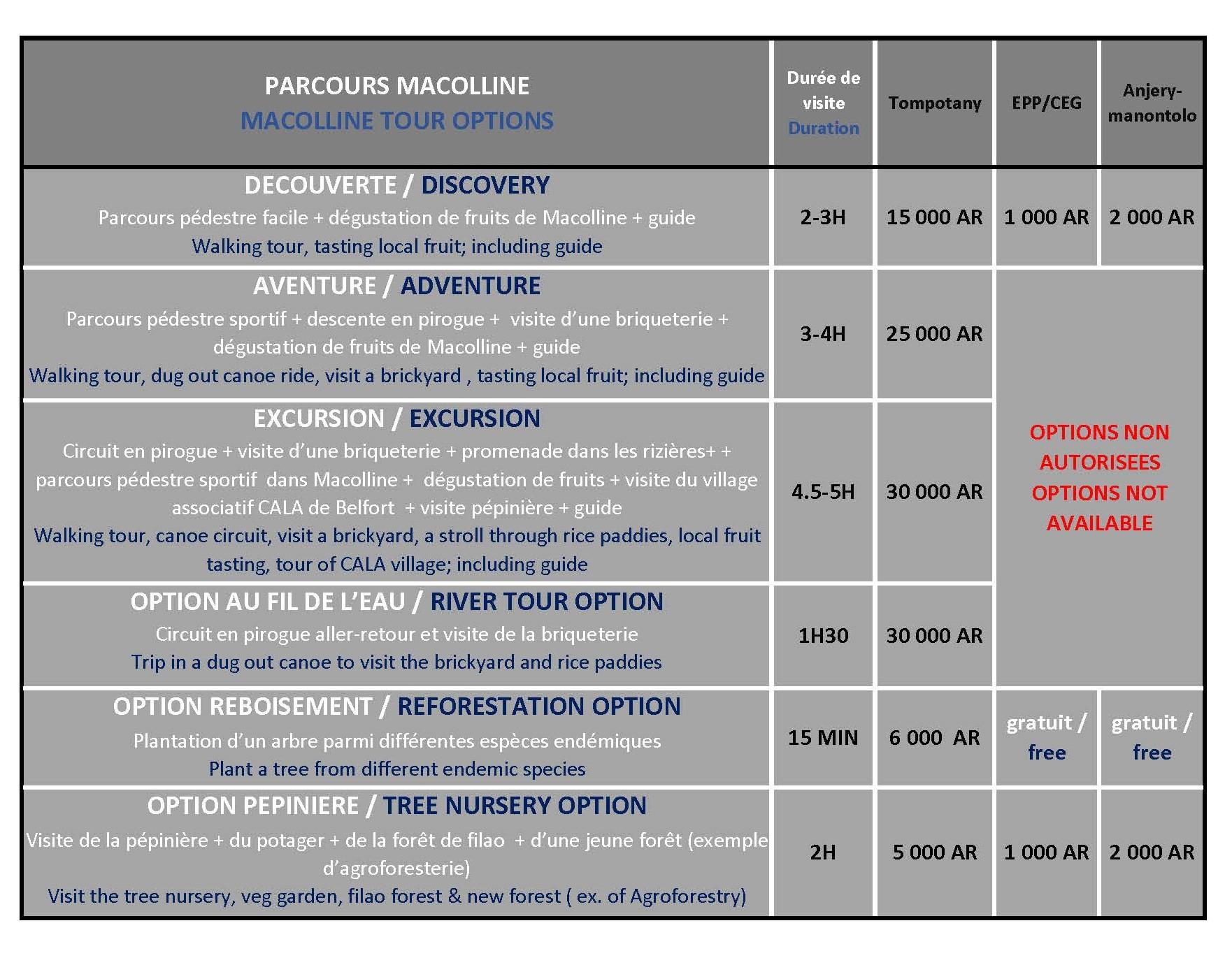MACOLLINE flyer prices bilingual 2020 students
